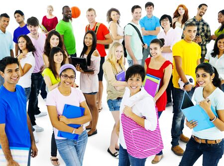 highschool: Students College Highschool People Youth Culture Concept Stock Photo