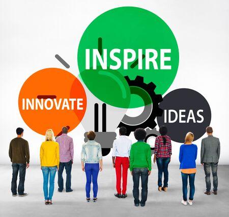 facing backwards: Inspire Ideas Innovate Imagination Inspiration Concept