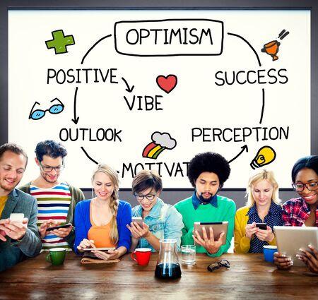 percepción: Optimismo positivo de Outlook Vibe Percepción Vision Concept