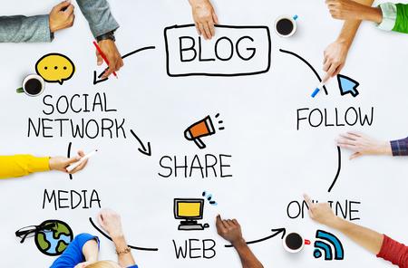 ブログ ブログ通信接続データ社会概念 写真素材