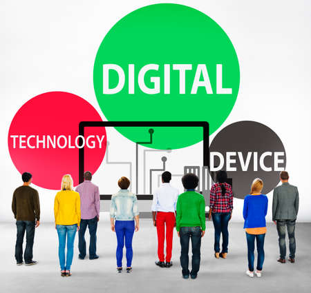 facing backwards: Digital Device Technology Internet Computer Connect Concept