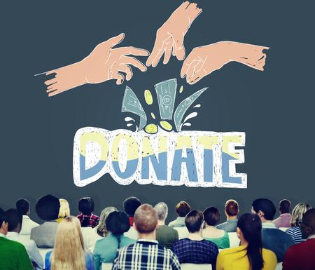 generous: Donar dinero Caridad Manos Generosas Concepto
