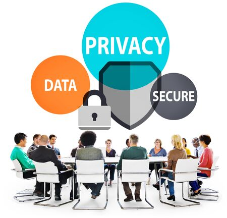 internet safety: Privacy Data Secure Protection Safety Concept Stock Photo