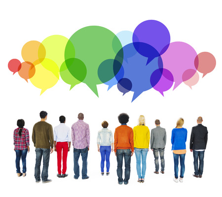 Multiethnic Diverse People Facing Backwards with Speech Bubbles Stock Photo - 49519426