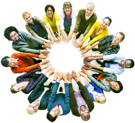 circle of friends: Multi-ethnic Diverse Group of People In Circle Concept Stock Photo