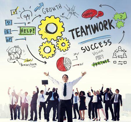 teamwork business: Teamwork Team Collaboration Connection Togetherness Unity Concept