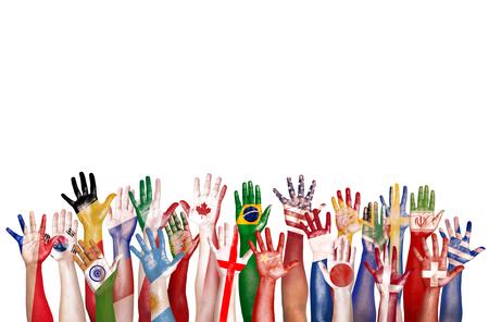 diversidad: Manos bandera del símbolo de la diversidad étnica diversa Etnia Unidad Concepto