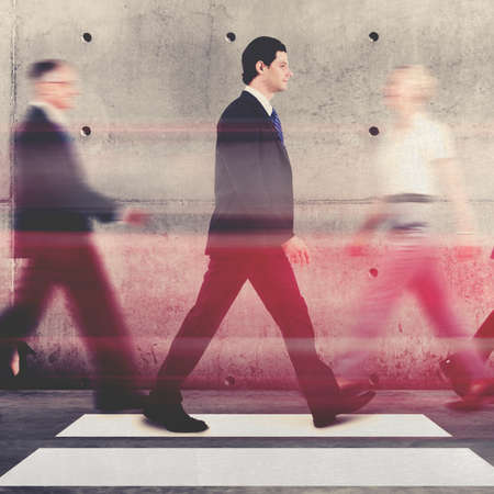 rushing hour: Business People Commuter Walking Abstract  Concept Stock Photo