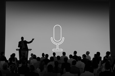 announcement: Microphone Announcement Mic Broadcast Recording Speech Concept Stock Photo