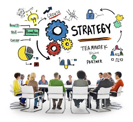 successful business: Strategy Solution Tactics Teamwork Growth Vision Concept