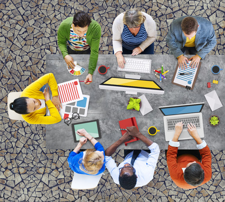 asian man laptop: People Meeting Corporate Planning Brainstorming Concept Stock Photo