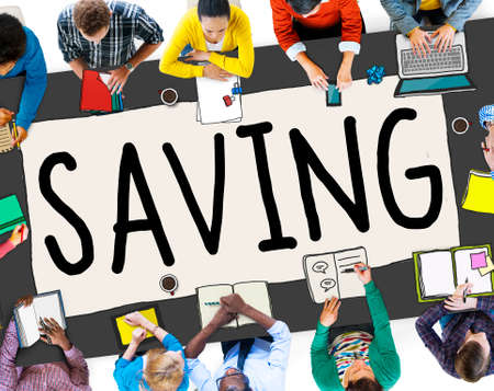 banking concept: Saving Save Money Finance Budget Banking Concept Stock Photo