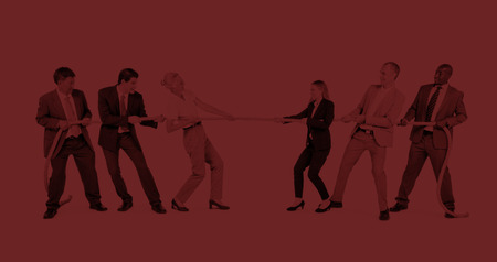 Group of Business People Pulling Rope Concept 스톡 콘텐츠