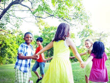 children holding hands: Group of Children Holding Hands Togetherness Concept