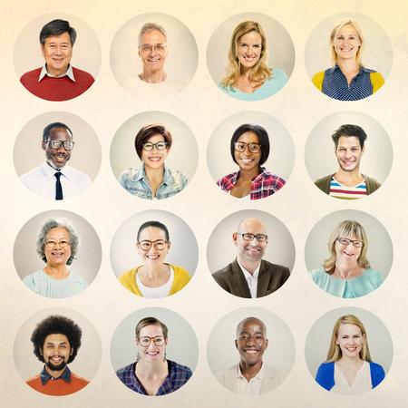 multiple ethnicities: Portrait Diverse Multiethnic Cheerful People Concept