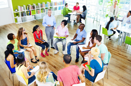 college: College Students Learning Education University Teaching Concept Stock Photo