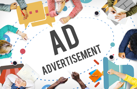advertising: Ad Advertisement Marketing Commercial Concept Stock Photo
