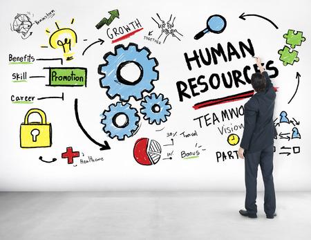 recursos humanos: Recursos Humanos Empleo Trabajo en equipo del hombre de negocios Concepto Ideas Foto de archivo