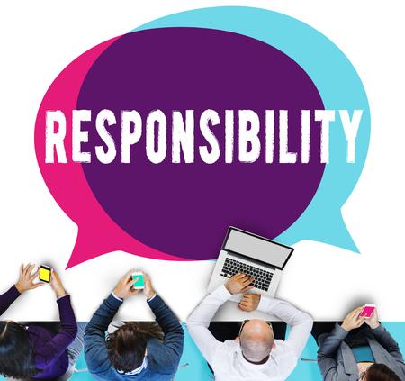 business roles: Responsibility Duty Obligation Job Trustworthy Concept
