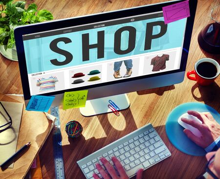 ordering: Shop Shopping Buying Paying Ordering Commercial Concept