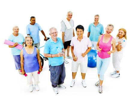 ejercicio: Entrenamiento mayor Concepto Adulto Ejercicio Actividad Saludable Foto de archivo