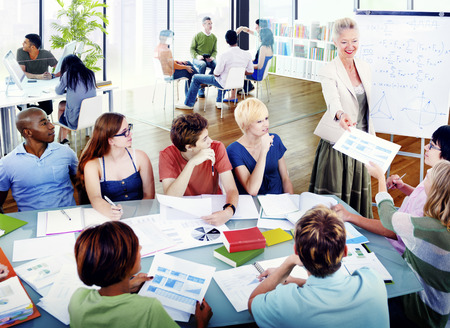 studying classroom: Students College University Education Group Concept Stock Photo