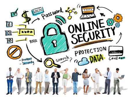 security technology: Online Security Protection Internet Safety Business Technology Concept