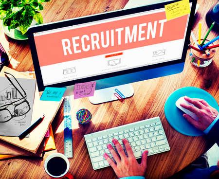 place of employment: Recruitment Employment Hiring Human Resource Concept Stock Photo