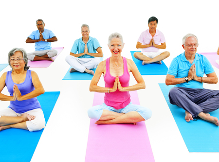 diverse women: Senior Adult Relaxation Activity Meditation Yoga Concept
