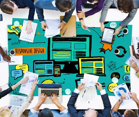 net meeting: Responsive Design Responsive Quality Content Share Online Concept