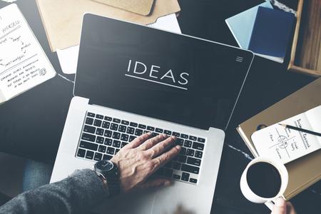 browsing internet: Businessman Working Ideas Creative Workplace Concept