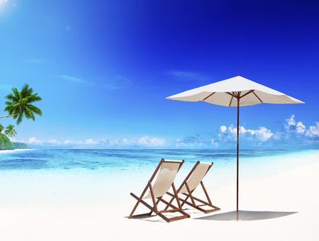 three palm trees: Deck Chair Tropical Beach Leisure Summer Vacation Concept