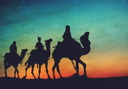 india culture: Three Kings Desert Star of Bethlehem Nativity Concept