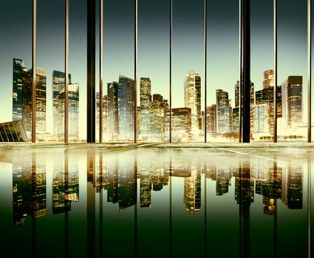 도시 조명 도시의 경치를 볼 건물 개념