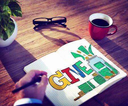 the help: Give Help Donation Charity Volunteer Concept Stock Photo