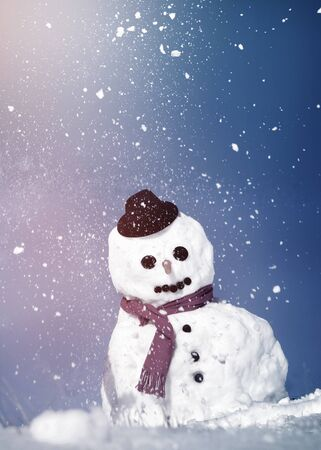 red scarf: Snowman With A Red Scarf And Black Hat Concept
