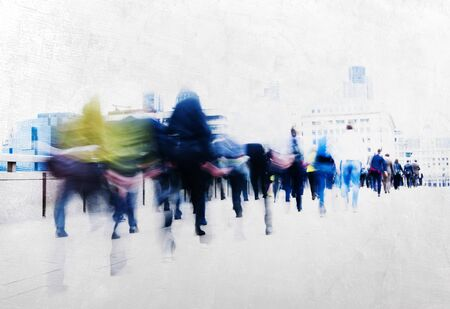 People Walking Commuter Busy Concept Stock Photo