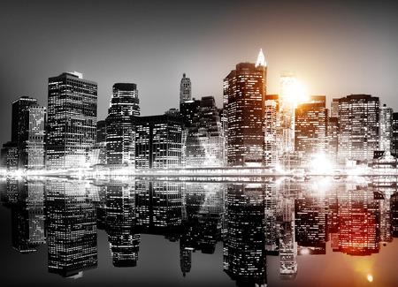 건물 스카이 스크래퍼 파노라마 밤 뉴욕 시티 개념 스톡 콘텐츠