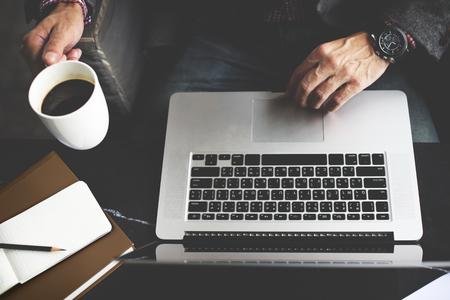 laptop: Man Computer Laptop Coffee Cafe Concept