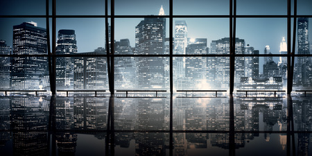 city scene: Modern NYC Interior Architecture Night Scene Concept Stock Photo