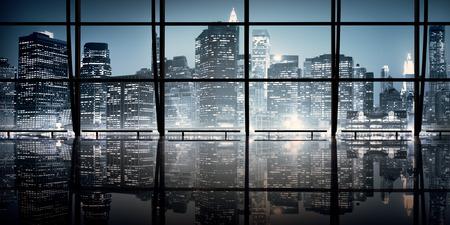 Moderne NYC Architecture d'intérieur Scène de nuit Concept Banque d'images - 49656304