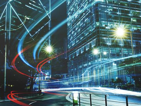 hong kong night: Urban Scene of Hong Kong Night Light Concept