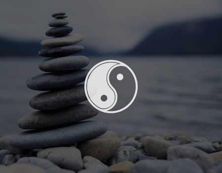 harmony idea: Yin Yang Balance Contrast Opposite Religion Culture Concept Stock Photo