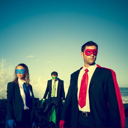 superman: Business superheroes on the beach confident concept