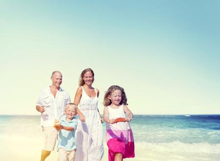 enjoyment: Family Beach Enjoyment Holiday Summer Leisure Concept