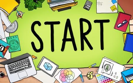 begin: Start Journey Mission Achievement Begin Concept Stock Photo