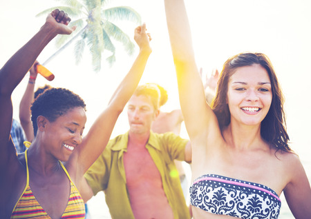 people partying: Group People Partying Tropical Beach Summer Drinking Concept