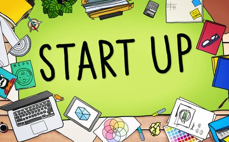 printer drawing: Start up Business Opportunity Development Success Concept Stock Photo