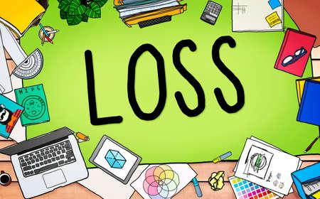 printer drawing: Loss Risk Debt Economy Finance Concept
