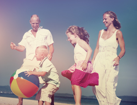 beachball: Family Beach Ball Holiday Vacation Togetherness Concept Stock Photo